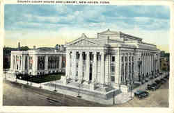 County Court House And Library Postcard