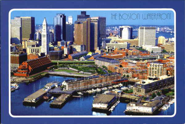 Aerial View Of Boston Waterfront Massachusetts