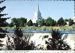 Idaho Falls And Mormon Temple Postcard