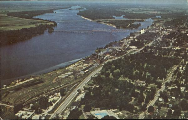 Aerial View Of Riverfront Quincy Illinois