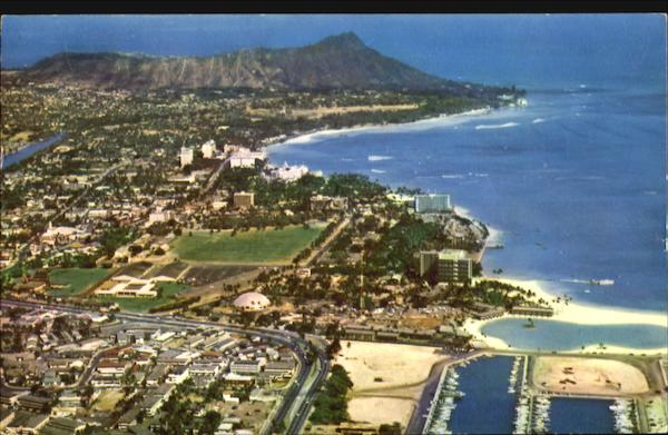 Aerial View Of Waikiki Area Hawaii