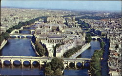 A View Of Paris And The River Seine Postcard