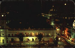 View At Night Of The Town Council Building Postcard