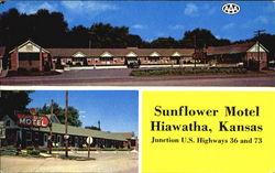 Sunflower Motel, U. S. Hiways 36 And 73 Postcard