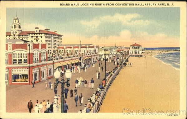 Board Walk Looking North From Convention Hall Asbury Park New Jersey