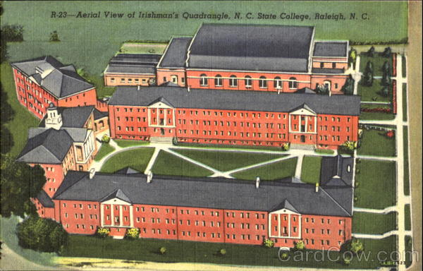 Aerial View Of Irishman's Quadrangle, N. C. State College Raleigh North Carolina