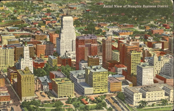 Aerial View Of Memphis Business District Tennessee