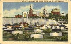 Mid-Continent Oil Refinery And Skyline Of Tulsa