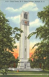 Clock Tower, N. C. State College Postcard