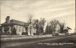 Mary Cheney Library And Cong. Church Postcard