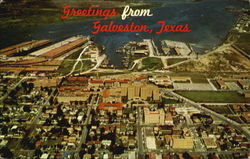 Aerial View Of Galveston Postcard