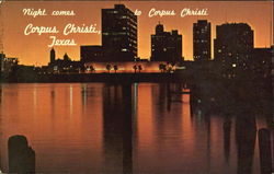 Night Comes To Corpus Christi Postcard