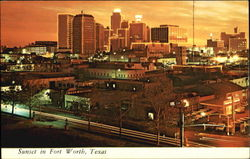 Sunset In Fort Worth Postcard