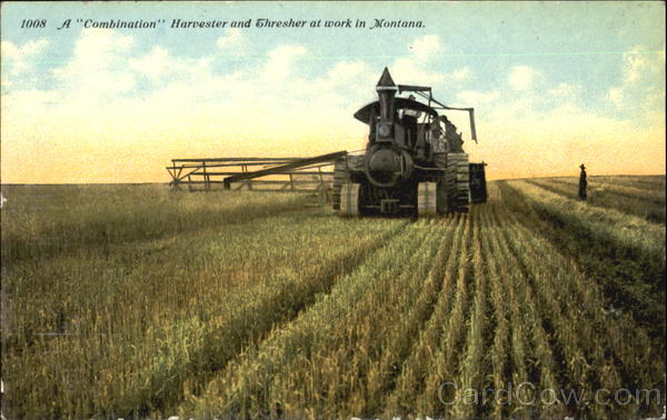 A Combination Harvester And Thresher At Work Scenic Montana