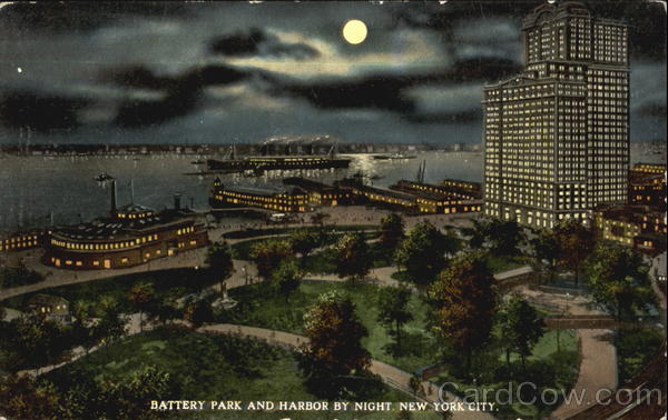 Battery Park And Harbor By Night New York City