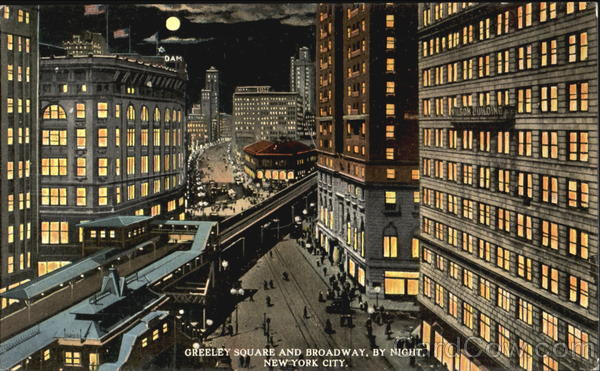 Greeley Square And Broadway By Night New York City