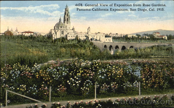 General View Of Exposition From Rose Gardens San Diego California