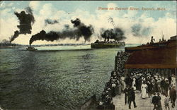 Scene On Detroit River Postcard