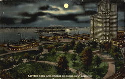 Battery Park And Harbor By Night