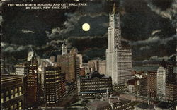 The Woolworth Building And City Hall Park By Night