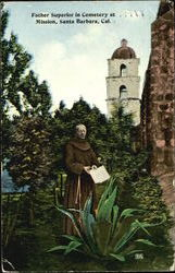 Father Superior In Cemetery At Mission Postcard