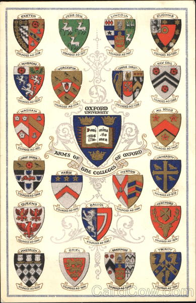 Arms Of The Colleges Of Oxford, Oxford University Universities