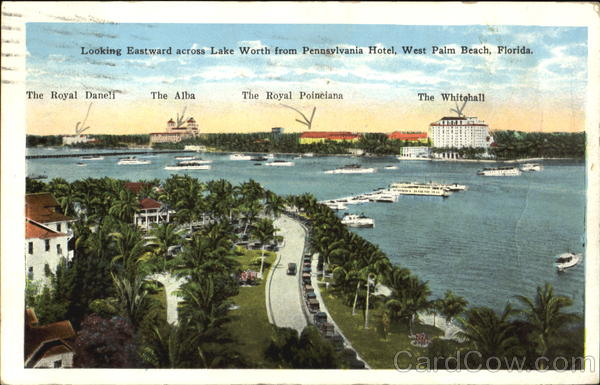 Eastward Across Lake Worth From Pennsvlvania Hotel West Palm Beach Florida