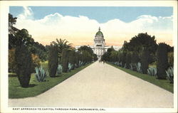 East Approach To Capitol Through Park Postcard