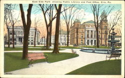 East Side Park Showing Public Library And Post Office Postcard
