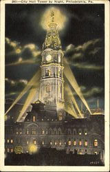 City Hall Tower By Night