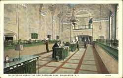 The Interior View Of The First National Bank Postcard