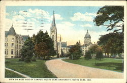 View On West Side Of Campus, Notre Dame University Postcard