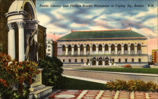 Public Library And Phillips Brooks Monument At Copley Sq. Boston Massachusetts