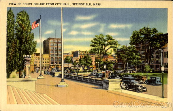 View Of Court Square From City Hall Springfield Massachusetts