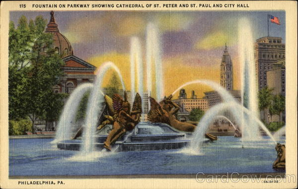 Fountain On Parkway Showing Cathedral Of St. Peter And St. Paul And City Hall Philadelphia Pennsylvania