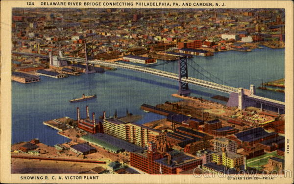 Delaware River Bridge Showing R. C. A. Victor Plant Philadelphia Pennsylvania