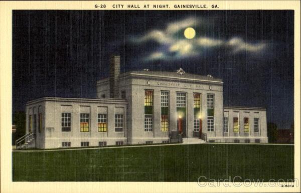 City Hall At Night Gainesville Georgia