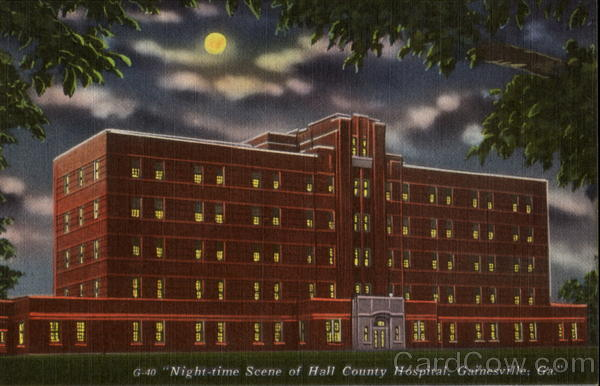Night Time Scene Of Hall County Hospital Gainesville Georgia
