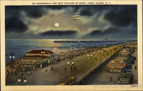 Boardwalk And Rest Pavilion By Night Coney Island New York