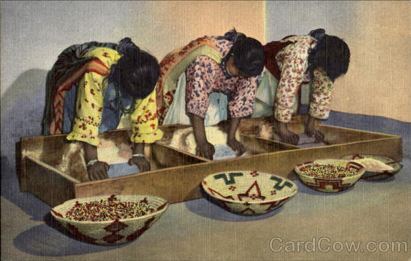 Pueblo Indian Women Grinding Grain Native Americana