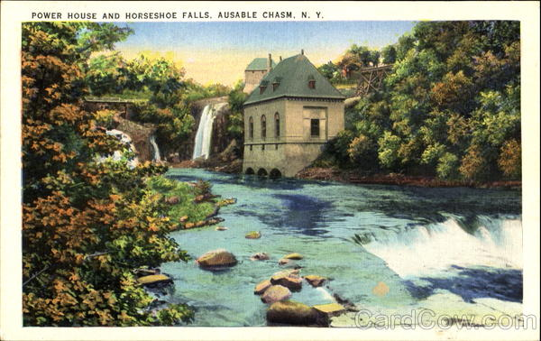 Power House And Horseshoe Falls Ausable Chasm New York