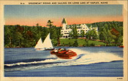 Speedboat Riding And Sailing On Long Lake Postcard