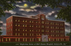 Night Time Scene Of Hall County Hospital Postcard