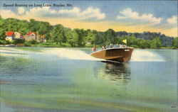 Speed Boating On Long Lake Postcard