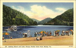 Bathing Beach And Lake, Hungry Mother State Park Postcard