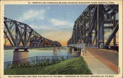 Memphis And Harrahan Bridges Spanning Mississippi River