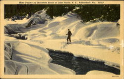 Skier Pauses By Mountain Brook