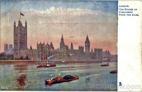 Tuck's Oilette The Houses of Parliament From The River London England