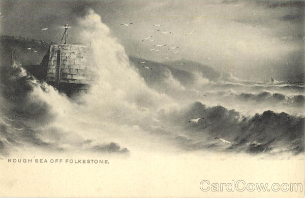 Tuck's series 802 Rough Sea off Folkestone Artist Signed