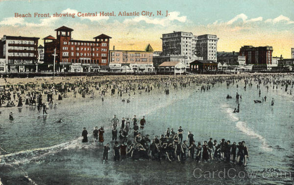 Beach Front, showing Central Hotel Atlantic City New Jersey